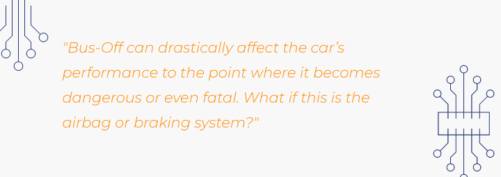 Quote showing the vulnerability of CAN bus hacking for airbag or braking systems