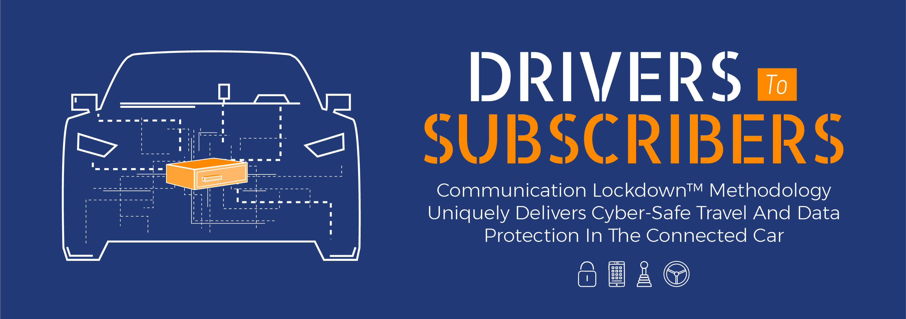 Image of a car outline with the communication lockdown methodology by GuardKnox protecting the vehcile from cyber threats